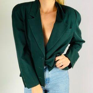 Vintage Ann Taylor 100% Wool Forest Green Blazer